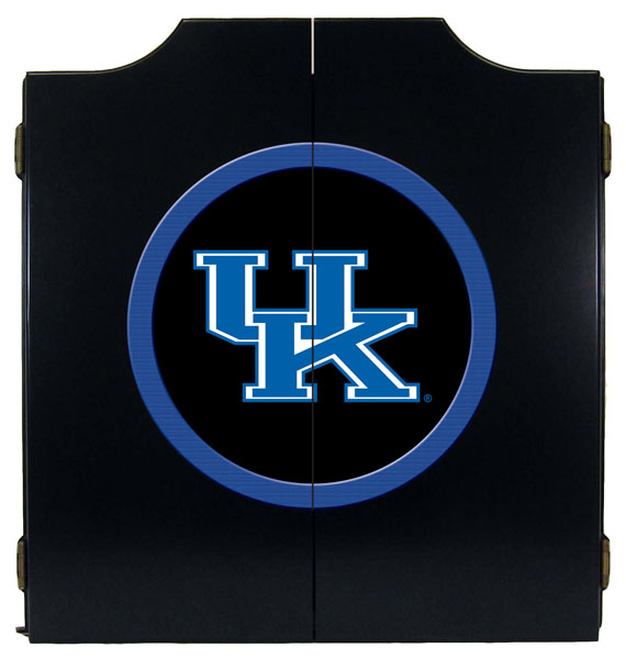 kentucky wildcats uk logo black dart board cabinet