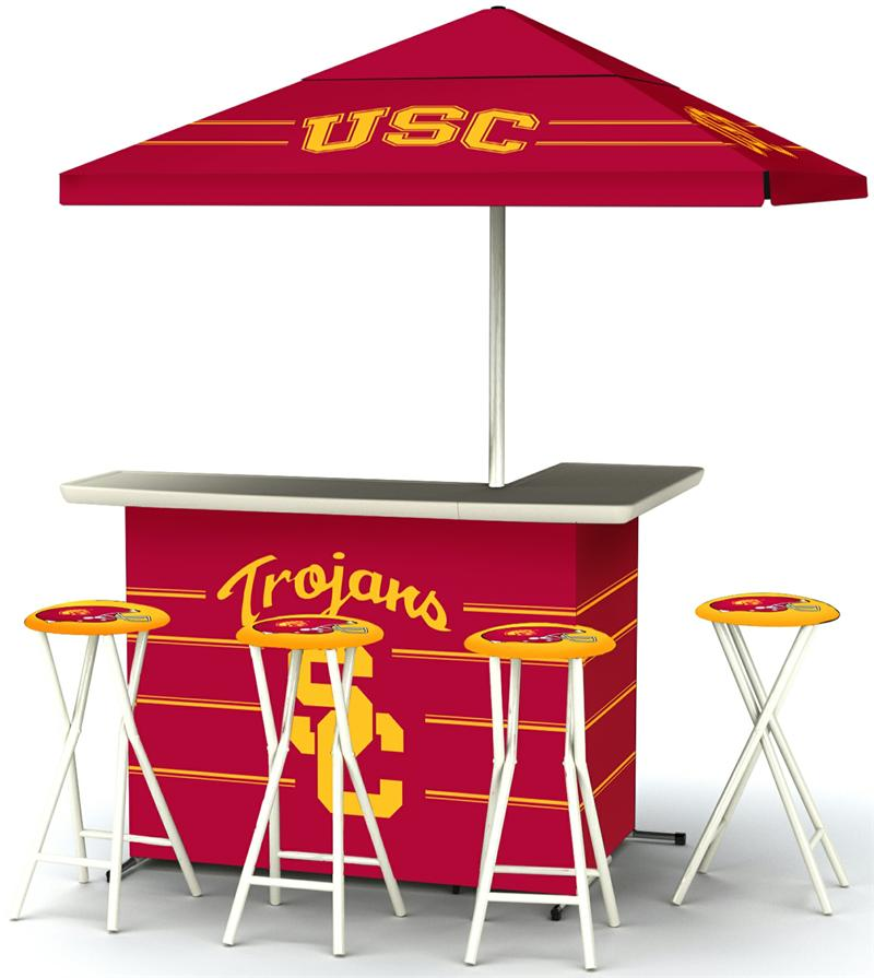 Usc Trojans Deluxe Portable Tailgate Bar Set